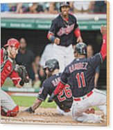 Mike Napoli, Lonnie Chisenhall, and Jett Bandy Wood Print