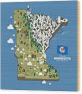Minnesota Map Wood Print