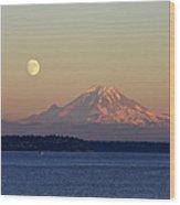 Moon Over Rainier Wood Print