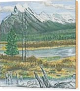 Mount Rundle Canadian Rockies Wood Print
