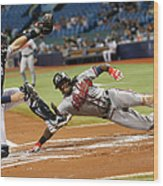 Nick Markakis And Cameron Maybin Wood Print