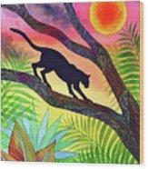 Ocelot at Sunset Wood Print