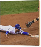 Omar Infante and Buster Posey Wood Print