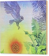 Owl at Sunset Wood Print