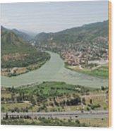 Panoramic view of Mtskheta, Mtkvari and Aragvi, Georgia Wood Print