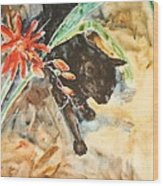 Panther With Passion Flower Wood Print