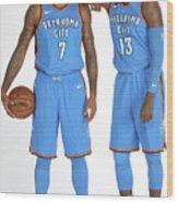 Paul George and Carmelo Anthony Wood Print
