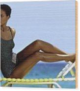 Peggy Dillard in a Polkadot Swimsuit Wood Print