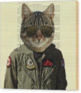 Pilot cat portrait on antique book page Wood Print