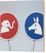 Political Debate Signs Wood Print