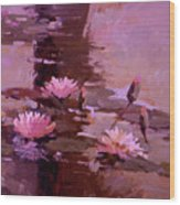 Pond Blossoms - water lilies Wood Print
