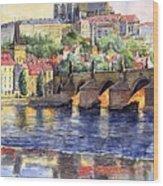 Prague Castle with the Vltava River 1 Wood Print