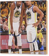 Quinn Cook and Kevin Durant Wood Print