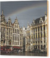 Rainbow over Grand Place Wood Print