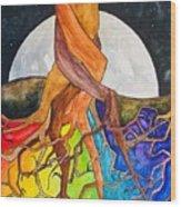 Rainbow Soil with Moon Wood Print