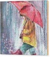 Rainy night streets Wood Print