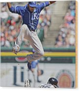 Rajai Davis and Alcides Escobar Wood Print