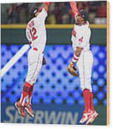 Rajai Davis and Francisco Lindor Wood Print