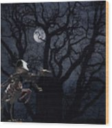 Raven and Rat Skeleton in Moonlight - Halloween Wood Print
