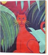 Red Cat Wood Print