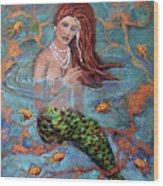 Red Headed Mermaid Ophelia Painting by Linda Queally Wood Print