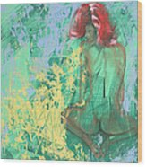 Red Headed Nude Wood Print