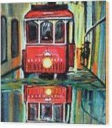 Red Tram Rainy landscape  Wood Print