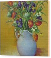 Red Tulips and Blue Iris                           copyrighted Wood Print