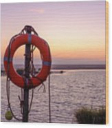 Rescue bouy on the beach of Los Lanches Tarifa Wood Print