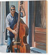 Riviera Rhythms- Cello Street Musician Wood Print