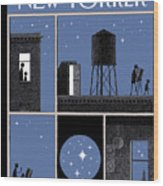 Rooftop Astronomy Wood Print