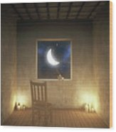 Room With a View Night Wood Print