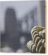 Ropes with Harbour backdrop Wood Print