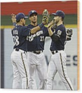 Ryan Braun, Gerardo Parra, and Carlos Gomez Wood Print