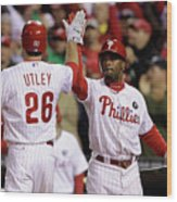 Ryan Howard, Jimmy Rollins, and Chase Utley Wood Print