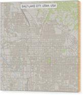 Salt Lake City Utah US City Street Map Wood Print