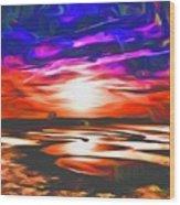 Sands Beach Wood Print