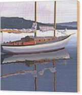 Schooner at dusk Wood Print
