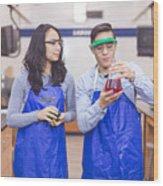 Science lab partners Wood Print