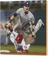 Scooter Gennett and Freddy Galvis Wood Print