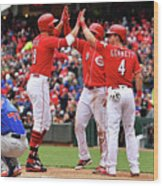 Scooter Gennett and Joey Votto Wood Print