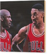 Scottie Pippen and Michael Jordan Wood Print