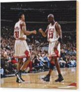 Scottie Pippen and Michael Jordan Wood Print
