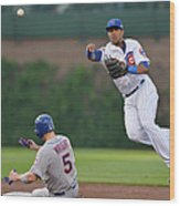 Starlin Castro, Curtis Granderson, and David Wright Wood Print