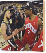 Stephen Curry and Kawhi Leonard Wood Print
