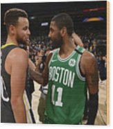Stephen Curry and Kyrie Irving Wood Print