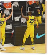Stephen Curry and Lebron James Wood Print