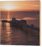Sunrise over Llandudno pier 2 Wood Print