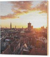 Sunset above Copenhagen Wood Print