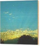 Sunset With God Rays Wood Print
